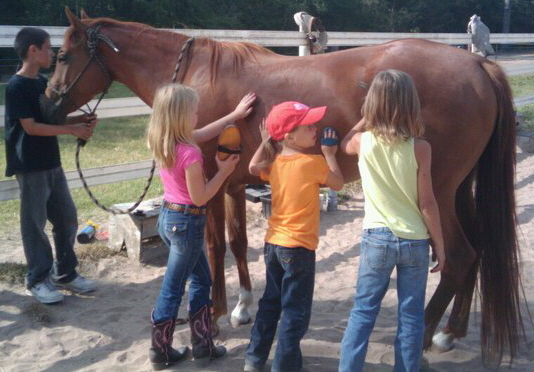 3 girls grooming Pepsi for camp